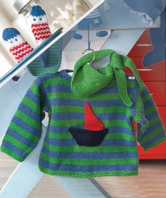 Sweater, Scarf and Finger Puppets, S6736 - Free Pattern. 3 months to 2 years