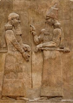 Sargon II and dignitary on a low-relief from the left wall of the palace of Sargon II at Dur Sharrukin in Assyria (now Khorsabad in Iraq), c. 716–713 BCE. Sargon II reigned 722-705 BCE and was one of the most important kings of the Neo-Assyrian Empire and founder of the Sargonid Dynasty.