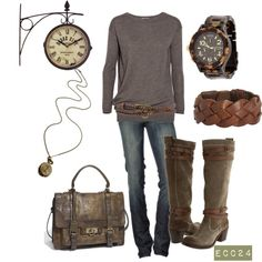 This is a great casual outfit! That sweatshirt looks super comfy, and I love the books, necklace, and bag. Mode Outfits, Fall Outfits, Casual Outfits, Fall Dresses, Casual Wear, Rustic Outfits, Summer Outfits, Mode Chic, Mode Style