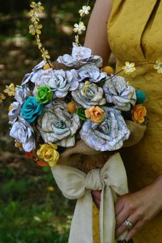 Handmade custom bridal bouquet with hand cut map and hand tinted watercolor paper flowers by Chuthers
