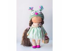 Green tilda doll Art doll handmade brown green pink colors Soft doll Cloth doll Fabric doll Baby Interior doll toy by Master Diana Etkind