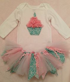 1st Birthday Cupcake Outfit with Tutu by HadleyJoDesigns on Etsy, $44.95
