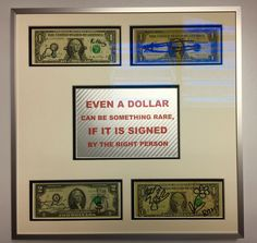 Dollar note artwork hand signed by Andy Warhol, Keith Haring, Salvador Dali and James Rizzi
