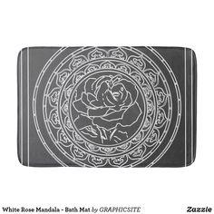 Shop White Rose Mandala - Bath Mat created by GRAPHICSITE. Mandala Rose, Geometric Mandala, Bathroom Art, Wedding Announcements, White Shop, Feeling Great, White Roses, Memory Foam, Bath Mat