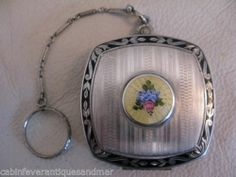Antique Art Deco Silver Pink Floral Yellow Guilloche Black Enamel Compact FM Co | eBay