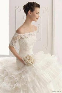 Off-the-shoulder Lace Organza Wedding Dress- alter the bottom and use as beautiful special evening wear! Not as wedding gown. Bridal Gowns, Wedding Gowns, Lace Wedding, Dream Wedding, Elegant Wedding, Modest Wedding, Wedding Bride, Wedding Cake, Glamorous Wedding