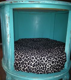 Cute pet bed that wont take up any space in your dorm room, definitely making this! ( buy old side table with cubby hole underneath,paint it whatever color you desire and buy a seat cushion/just hot glue it in there) WALA THERE YOU HAVE IT: ~ Carolyn