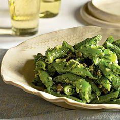 Runner bean/lemon/parsley/caper salad . http://www.myrecipes.com/recipe/romano-bean-salad-10000001988580/