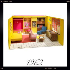 "Barbie's first ""Dream House"" in 1962 {My personal favorite!} I had this, including the cardboard throw pillows, and the 33 LPs for the Hi Fi!!"
