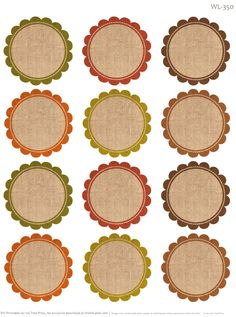 Round labels with an Autumn feel. Free Printables by @Erin B B Rippy - Ink Tree…