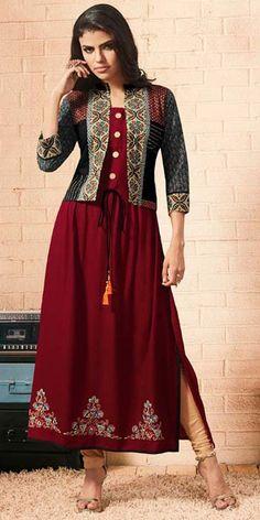 Designer Kurtis for Women in Fashion 2019 - Kurti Blouse Printed Kurti Designs, Salwar Designs, Kurti Neck Designs, Blouse Designs, Dress Designs, Trendy Kurti, Dress Patterns, Kurti Patterns, Sewing Patterns
