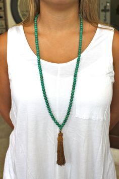Turquoise beaded necklace with bronze tassel by LINETWO on Etsy, $45.00