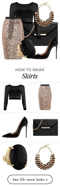 sparkly skirt xmas by fherrrnanda on Polyvore featuring MICHAEL Michael Kors, Christian Louboutin, French Connection and Etro