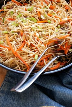 "Hakka Noodles  Noodles here are quickly stir fried with a spicy ""Indian Chinese"" flavored sauce and crunchy vegetables."