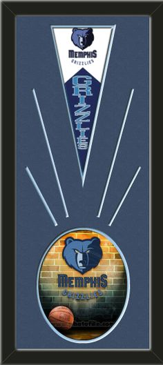 One framed 8 x 10 inch Memphis Grizzlies photo of Grizzlies-2006 Logo with a Memphis Grizzlies mini felt banner, double matted in team colors to 12 x 30 inches.  The lines show the bottom mat color.  The oval photo will be cropped to fit.  (Pennant design subject to change)  $89.99  @ ArtandMore.com