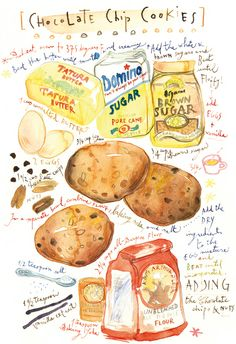 Recipe art Chocolate chip cookies recipe Bakery poster Kitchen decor Watercolor Food illustration print Cake art food still life Chocolate Chip Cookies, Chocolate Cookie Recipes, Baking Chocolate, Chocolate Chips, Food Sketch, Watercolor Food, Watercolor Painting, Watercolors, Food Painting