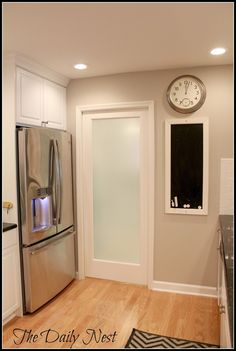 walls and trim (Revere Pewter, White Dove). Pinning because I like the frosted door - idea for our laundry room door!
