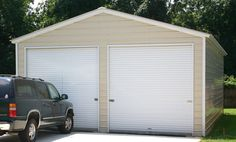 The 20x26 vertical roof a-frame metal garage is delivered and installed on your level land. Garage Door Sizes, Garage Doors, Car Garage, Garage Walls, Metal Garages, Metal Garage Buildings, Steel Garage, Roof Styles, Pergola Kits