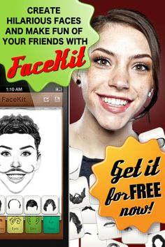 Facekit Free ($0.00) Create hilarious faces with facial elements from FaceKit and share them.★ 85 elements to choose from ★ CHECK OUT THE FULL VERSION WITH 350+ ELEMENTS! ★     - 10 facial features (you can mix & match them to create various faces):  * Hair   * Eyebrows   * Eyes   * Ears   * Nose   * Mouth   * Chin   * Moustache   * Beard   * Glasses   - Save images to your camera roll   - Post your creations on Facebook and Twitter or share via email