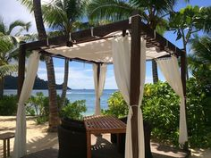 If only this was our morning view. (Photo from Kempinski Seychelles Resort) Seychelles Resorts, Gazebo, Pergola, Morning View, This Is Us, Outdoor Structures, Sign, Chic, Places