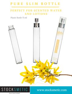 Pure plastic Slim Bottle 75ML 24/410  Perfect for scented water and lotions