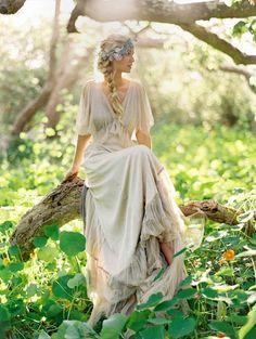 v neck bohemian style wedding dress