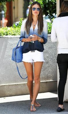Ombré button up with white shorts. Love it
