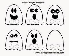 Enjoy these FREE ghost finger puppet printables. Halloween Infantil, Theme Halloween, Toddler Halloween, Halloween Crafts, Preschool Halloween, Pumpkin Printable, Halloween Printable, Ghost Crafts, Puppets For Kids