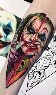 33 Cool Joker Tattoos That You Will Love - Millions Grace Anime Tattoos, Leg Tattoos, Body Art Tattoos, Sleeve Tattoos, Tattoos For Guys, Cool Tattoos, Joker Tattoos, Amazing Tattoos, Batman Joker Tattoo