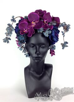 MADE TO ORDER Purple & Blue Flower Headdress by MissGDesignsShop, $165.00