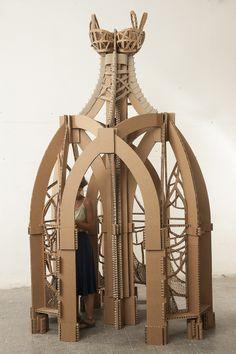 cardboard sculpture installation - by elian kaczka