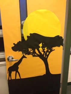 African art inspired door/bulletin board as part of Africa study