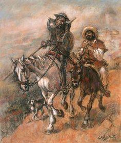 """Don Quijote y Sancho [Gustavo Pujalte] """"El que Lee mucho y Anda mucho, Ve mucho y Sabe mucho"""""""