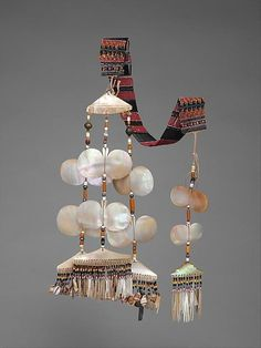 Ornament (Sipattal) Date: late century Geography: Philippines, Luzon Island Culture: Isneg people Medium: Shell, beads, fiber, metal Dimensions: W. 3 x D. Filipino Fashion, Filipino Culture, Filipino Art, Philippines Culture, Filipiniana, Tribal Jewelry, Ancient Art, Antique Jewelry, Jewelry Design