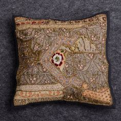 Decorative Zari Pillow Cover, Embroidery Cushion Cover, Indian, Beads work pillow, Mirror Work Cover,  Indian Embroidery cover, Tren by Moomal on Etsy
