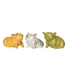 Sitting Pig Figurine - Set of Three