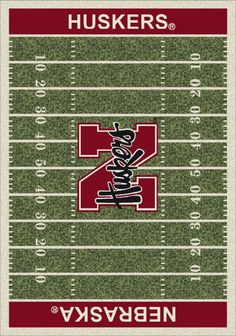 Milliken College Home Field Nebraska Huskers Green Rug