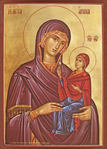 Saint Ann and the blessed ever-Virgin Mary Madonna Und Kind, Madonna And Child, St Anne, Religious Icons, Religious Art, Paint Icon, Santa Ana, Byzantine Art, Holy Mary