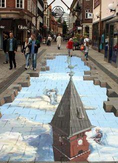 3-D Street Art - photo from playbuzz   ...artist not listed...