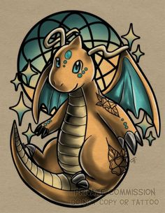 Dragonite Tattoo Commission by RetkiKosmos on DeviantArt Gengar Pokemon, Pikachu Pikachu, Pokemon Tattoo, Pokemon Collection, Geek Crafts, Birthday Fun, Birthday Greetings, Tigger, Supernatural