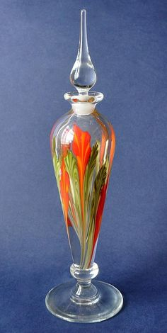 Red Flowers Lampwork Perfume by Richard Golding Station Glass http://www.bwthornton.co.uk/isle-of-wight-richard-golding-bath-aqua-glass.php