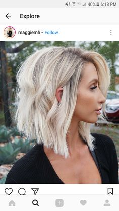 Good silver blonde waved lob
