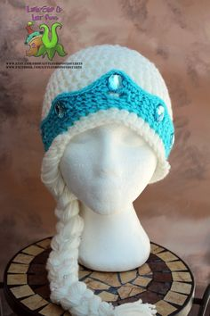 Thick Double threaded Elsa inspired hat by LittleShopOfLostArts