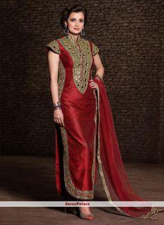 Diya Mirza Maroon Churidar Suit