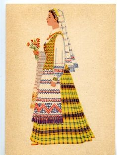 beautiful drawings of Lithuanian folk costumes