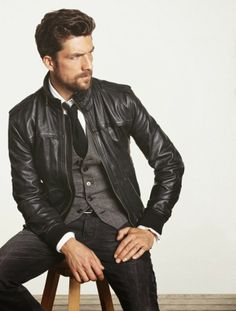 ~ Living a Beautiful Life ~ Black Leather Jacket, Grey Vest, Fitted Jeans, and Black Tie. Leather Jacket Outfits, Men's Leather Jacket, Leather Men, Black Leather, Jacket Men, Leather Jackets, Bomber Jacket, Look Rock Chic, Leather Fashion