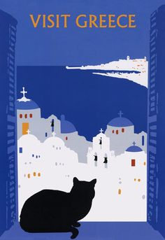 """Love this for 1) the cat and 2) Greece is my #1 dream vacation: Black Cat ~ Vintage """"Visit Greece"""" Poster"""