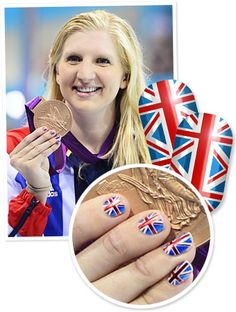 Olympic Nails - Great Britain's swimming sensation sports Union Jack nails! #nails #olympics