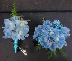 Matching Delphinium Corsage and boutonniere