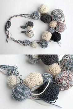 Blue knitted chunky statement necklace, by rRradionica
